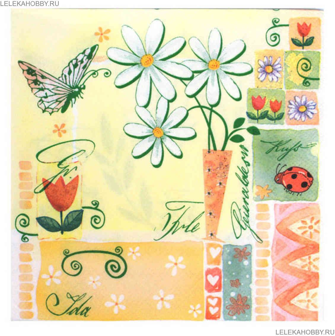 Салфетки д/декупажа 1лист Flowers Bouquet трехсл