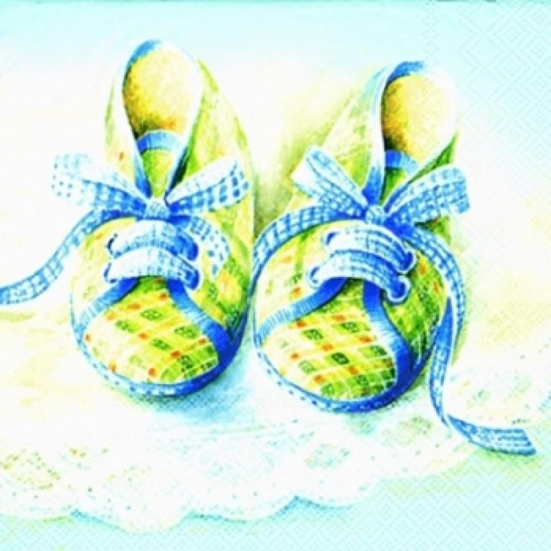 Салфетки д/декупажа 1лист Baby shoes blue