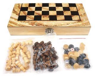 Настольная 3-в-1 Шахматы, шашки, нарды + поле 34*34 см