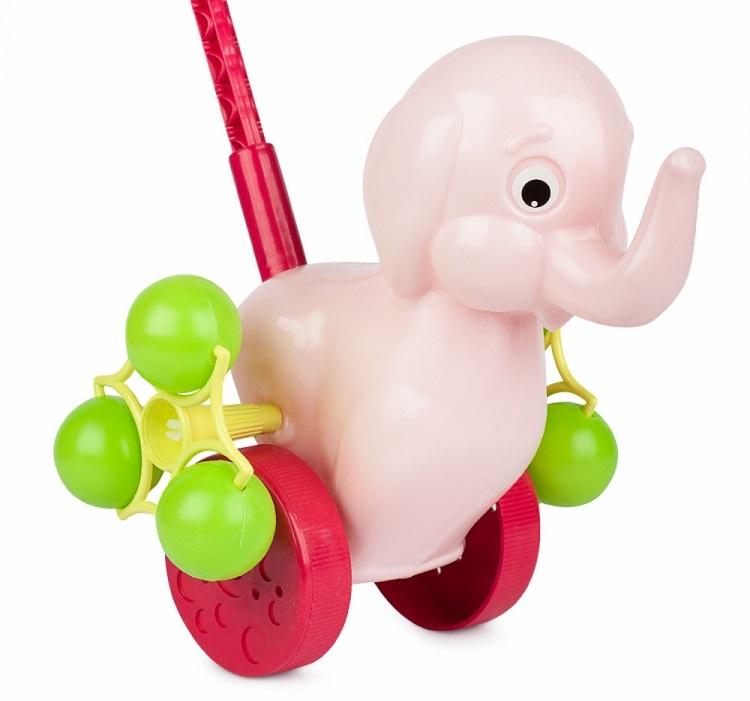 Каталка Розовый слоненок на палке