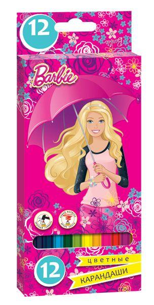 Карандаши цветные 12 цв Limpopo Barbie