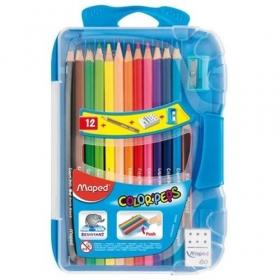 Карандаши цветные 12 цв Maped Color Peps + точилка + ласиик + ч/гр кар