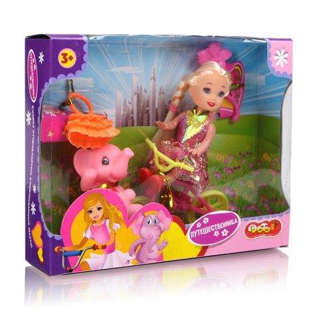 набор Кукла Путешественница 9см. + велосипед, слоник, сумочка,