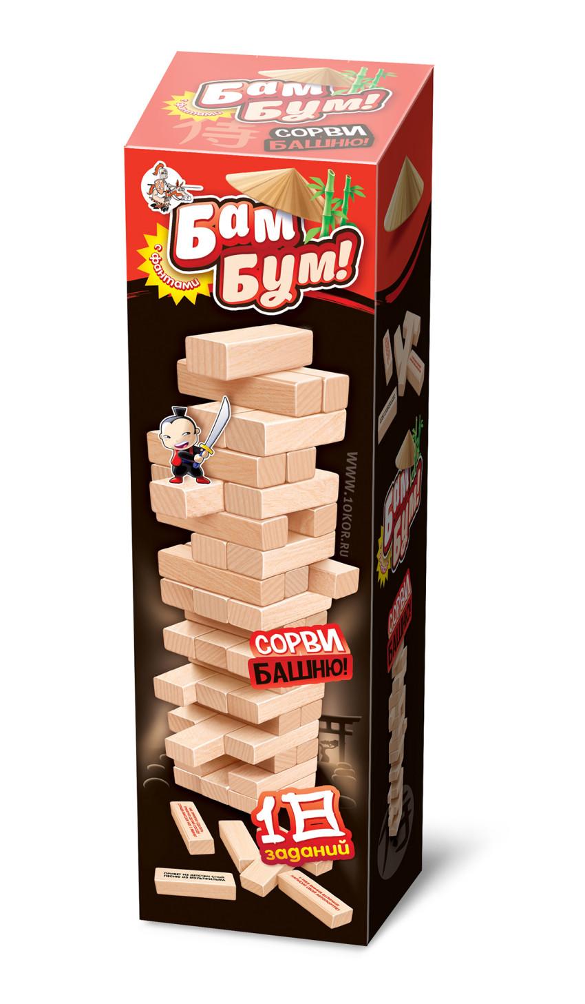 Игра Настольная Падающая башня с фантами Бам-Бум с фантами