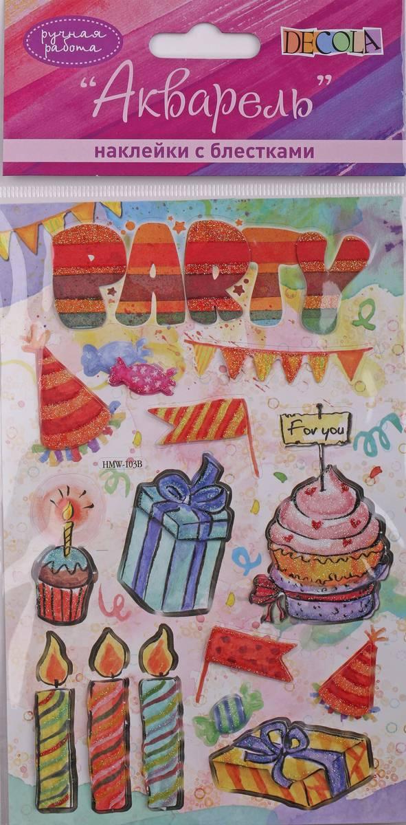 Наклейки декоративные Decola День рождения-2 ручн раб с блестками