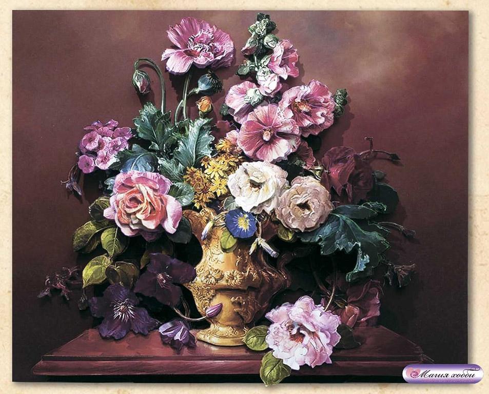 Творч Папертоль Цветы на коричневом 22*19см
