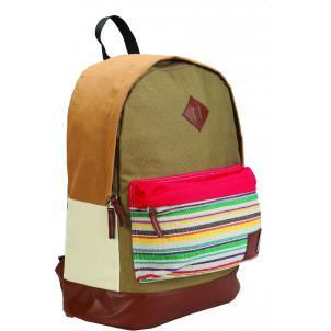 Рюкзак Centrum коричневый ткан внешний карман в полосочку на молнии