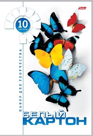 Картон белый А4 10л Бабочки мелованный