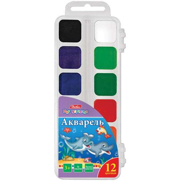 Краски 12цв Hatber-Дельфины- без кисти в пласт