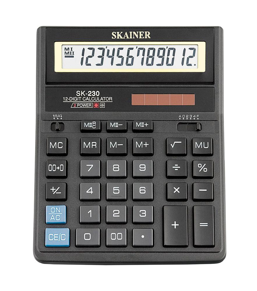Калькулятор 12 разр. SKAINER черный