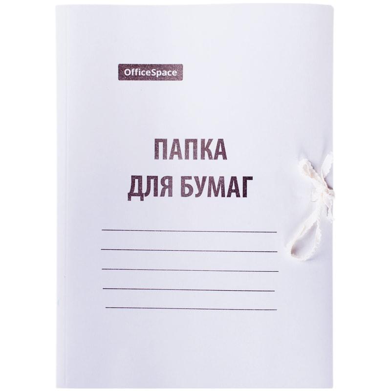 Папка д/бумаг на завязках белая 440гр мелов