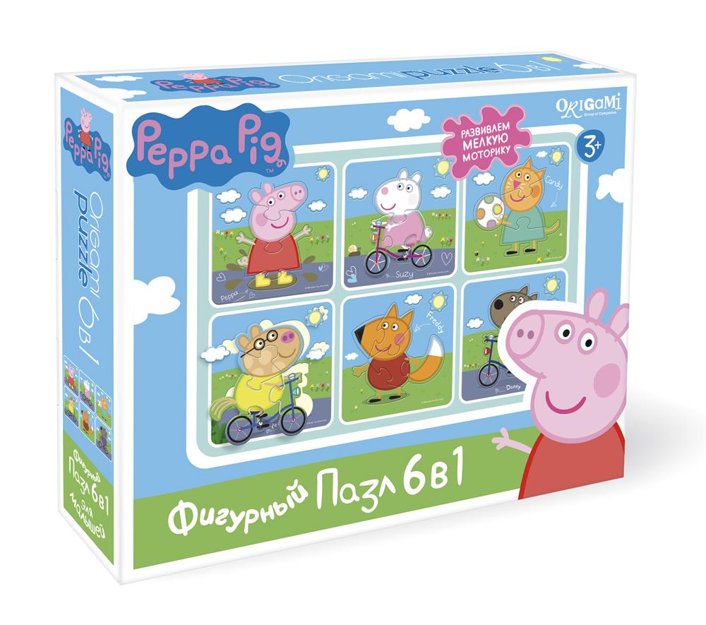 Пазл 6 в 1 Origami 01564 фигурный Peppa Pig На прогулке