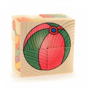 Настольная Кубики-пазл 4шт. Игрушки дерев.