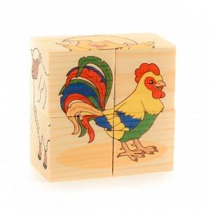 Настольная Кубики-пазл 4шт. Домашние животные