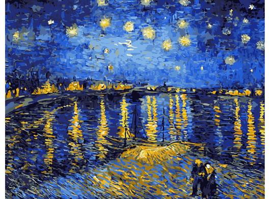 Картина по номерам 40*50 Ван Гог. Ночь над роной