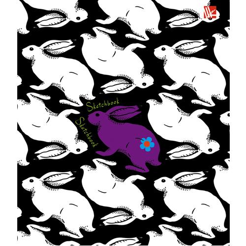 Блокнот А6 80л спир Кролики Графика Скетчбук без линовки