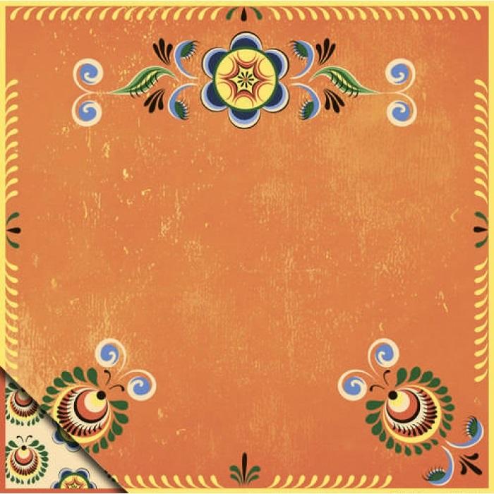Бумага д/скрап 30,5*30,5 Шенкурская роспись Оранжевый орнамент