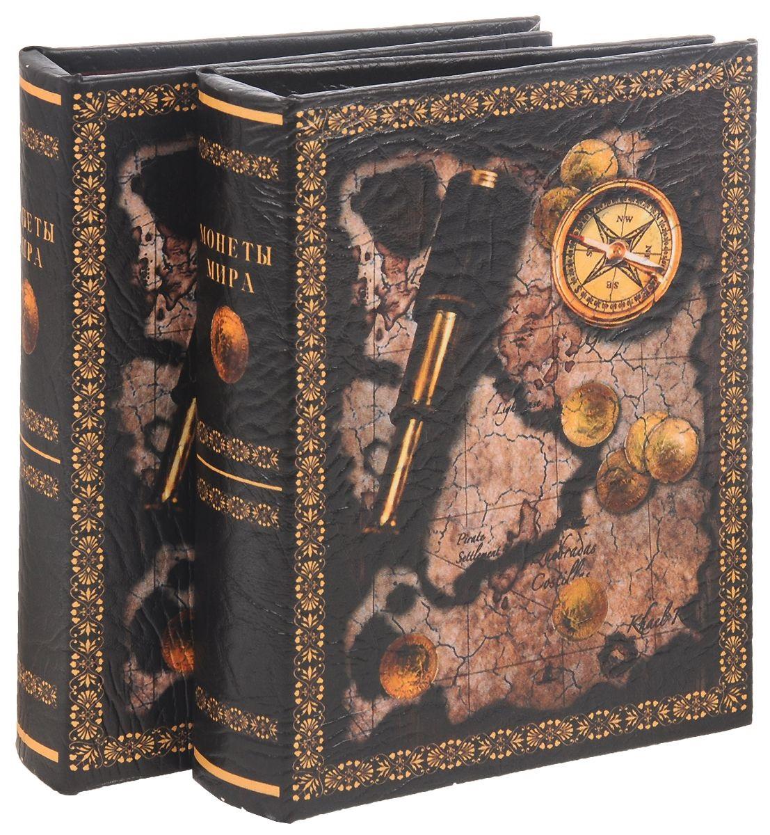 Альбом д/монет 115*180мм ПВХ с рисунком Компас (48 карманов)