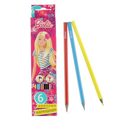 Карандаши цветные 6 цв Limpopo Barbie