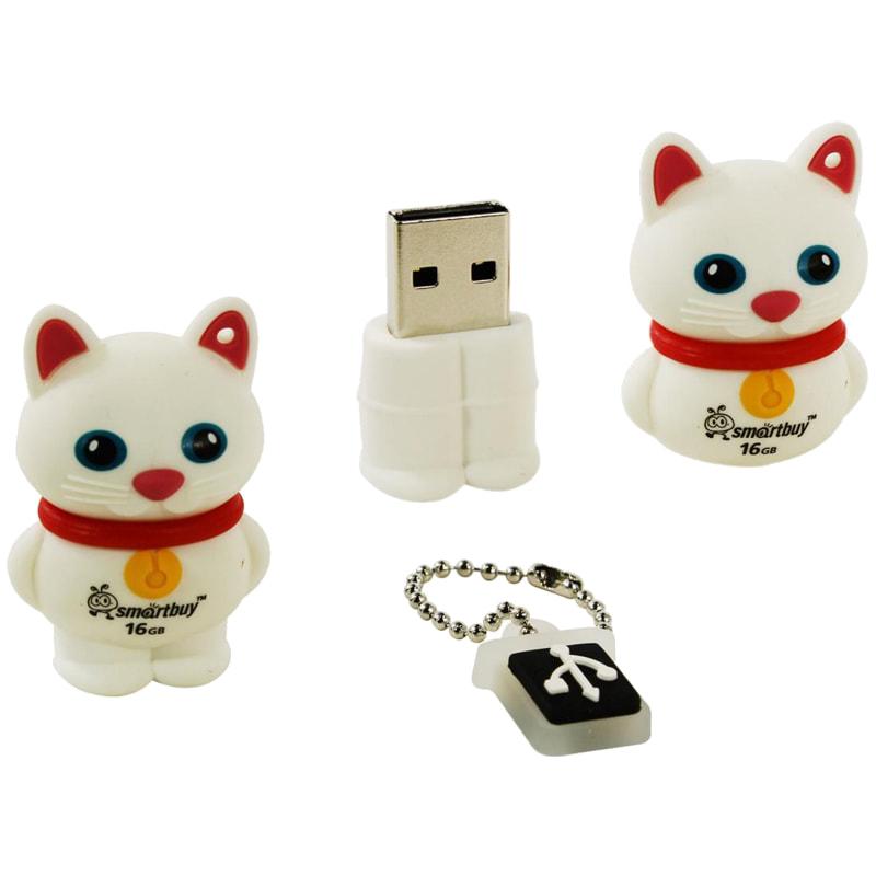 Флэш-карта USB 8GB 2.0 Smart Buy Кошка белый