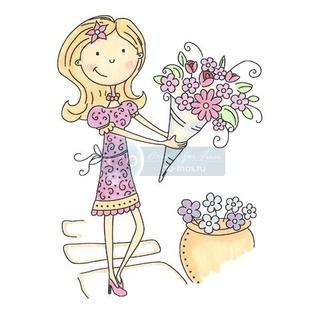 Штамп силикон А7 Girl with Flowers