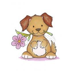 Штамп силикон А7 Dog with Daisy