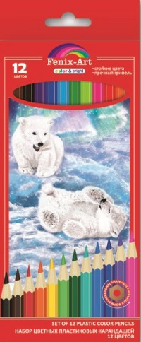 Карандаши цветные 12 цв пластик Fenix-Art Медвежата