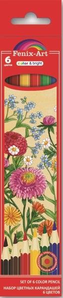 Карандаши цветные 6 цв пластик Fenix-Art Цветы