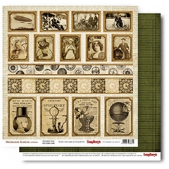 Бумага д/скрап 30,5*30,5 Механические иллюзии Перфокарта