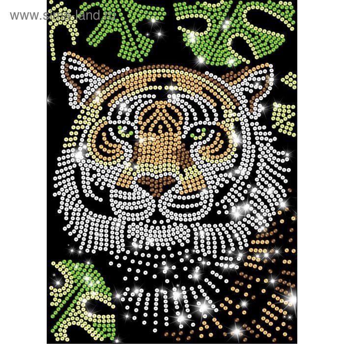 Аппликация из пайеток Тигр с клеевым слоем + 6 цветов пайеток