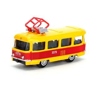 Машина Трамвай металл 1:72 в кор. 7см