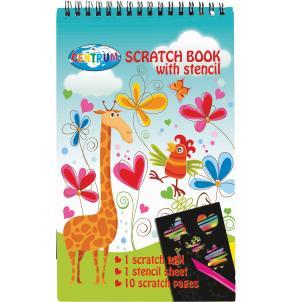 Блокнот Scratch Book Гравюры Giraffe 10л + трафареты