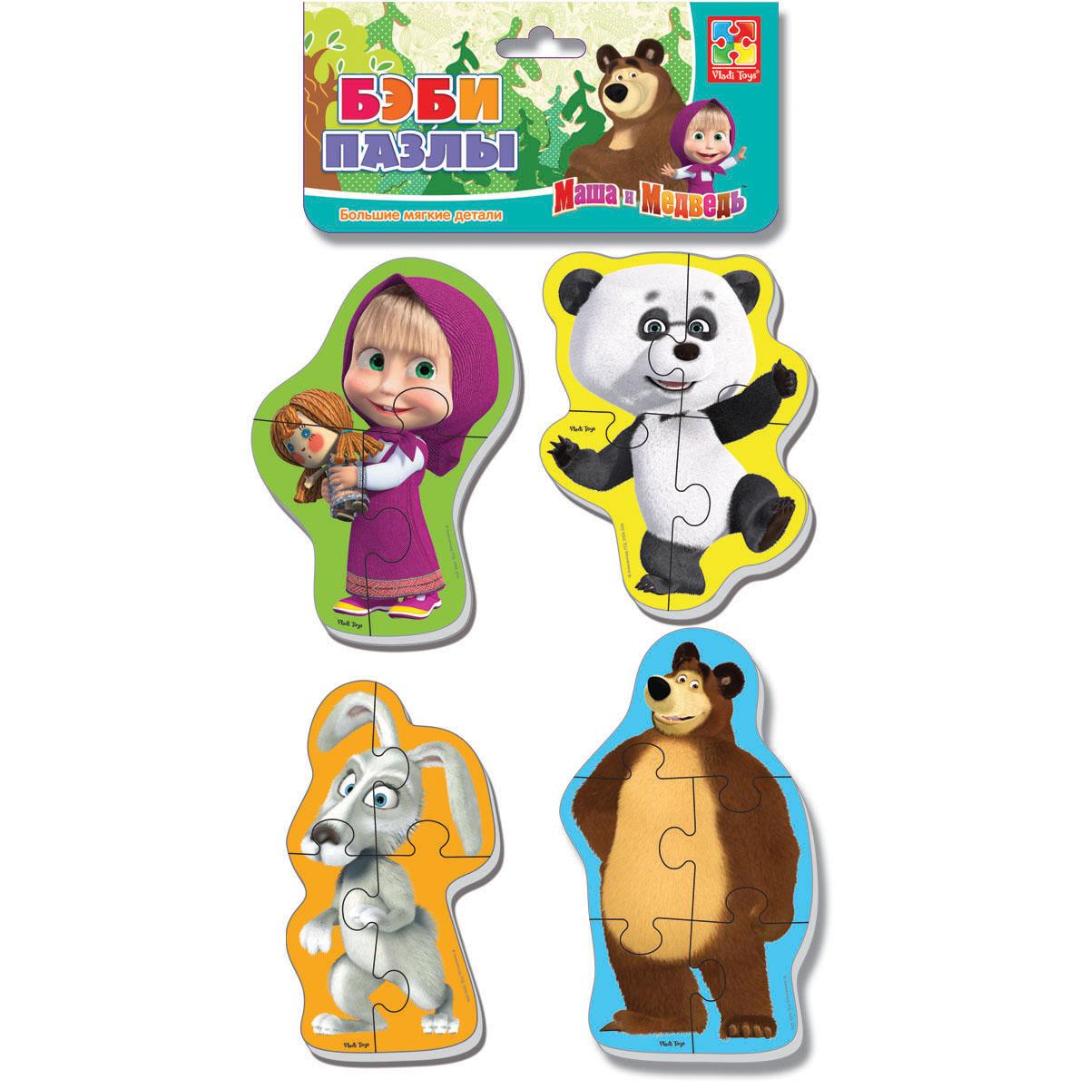 Пазл Мягкий Маша и Медведь Панда и заяц