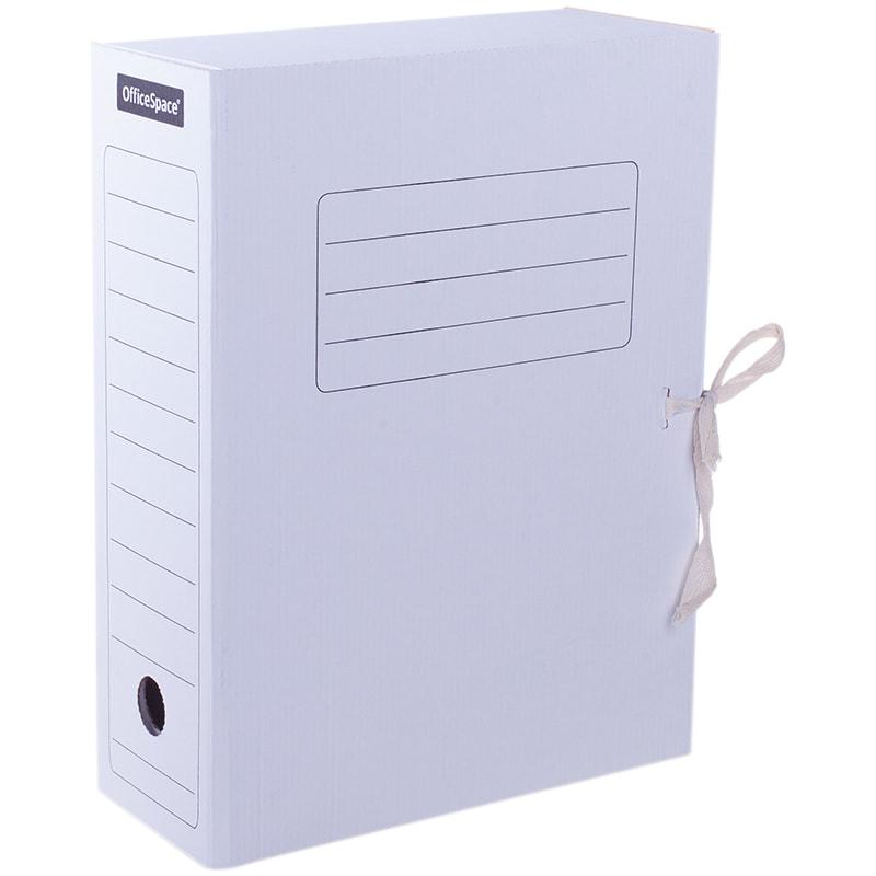 Папка архивная 100мм картонная с завязками белая