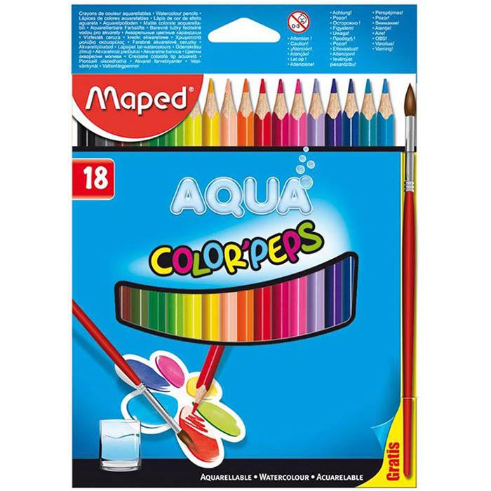 Карандаши цветные 18 цв акварел Maped Color Peps + кисточка к/к