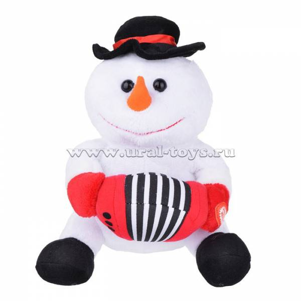Интерактивная Мягконабивная Снеговик с гармонью 21см звук, двиг
