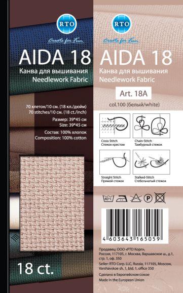 Канва для вышивания белая AIDA18