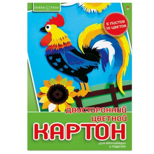 Картон цветной А4 5л 10цв мелов Hobby Time двустор папка
