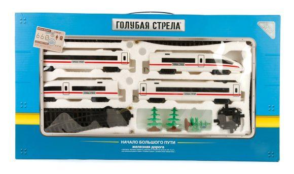 Железная дорога Голубая стрела Скоростной поезд, 39дет., свет,