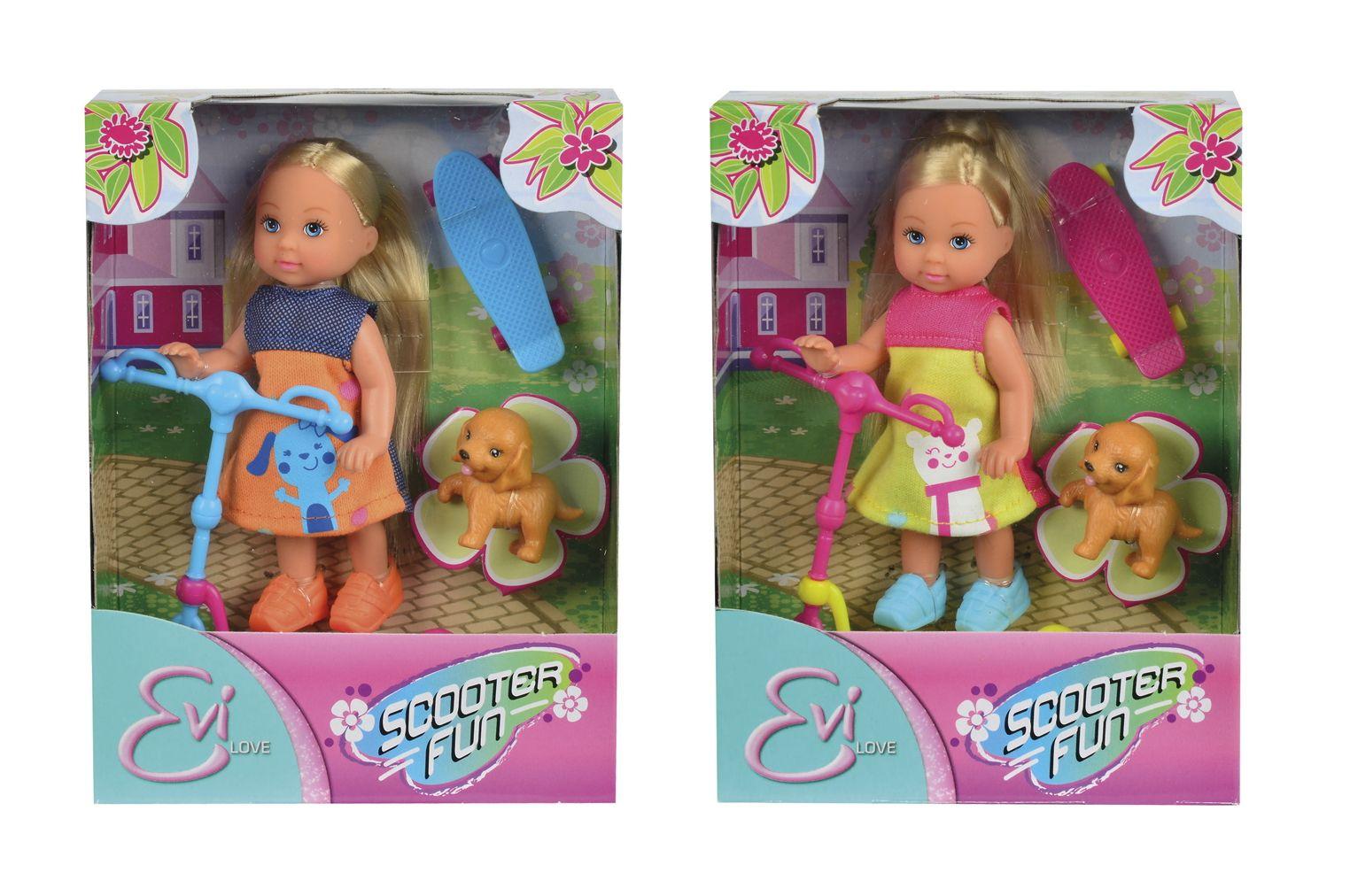 Кукла Еви на скутере 12см + скейт и собачка