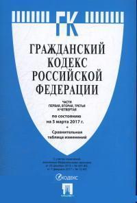 Гражданский кодекс РФ: Части 1, 2, 3 и 4: По сост. на 05.03.17 + таблица