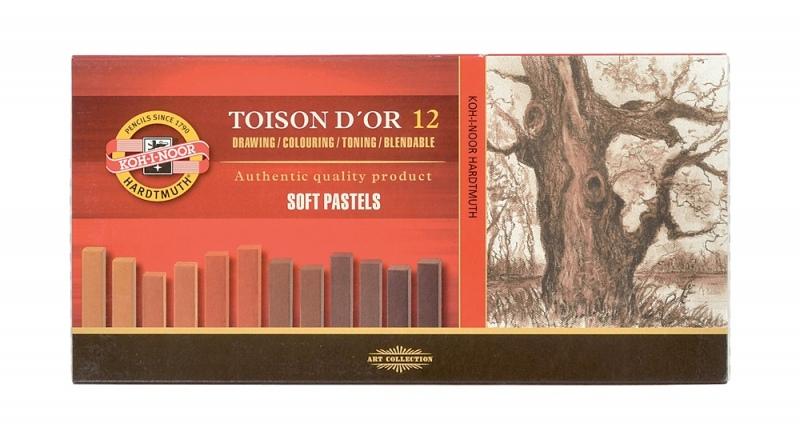 Пастель 12цв K-I-N Toison D'or сухая градация коричневого
