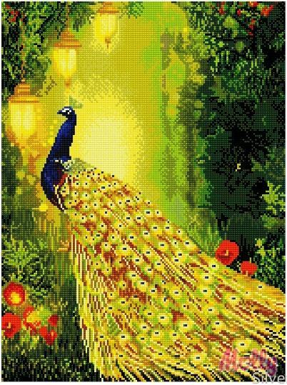 Картины мозаикой 40х50 Павлин