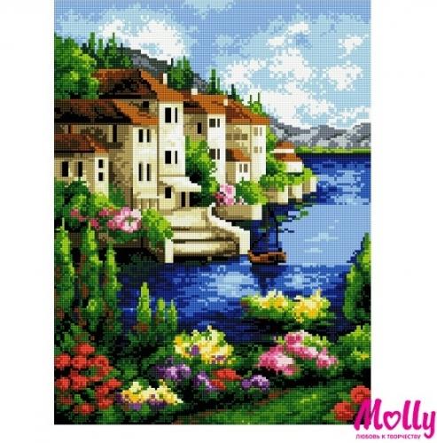 Картины мозаикой 40х50 Приморский городок