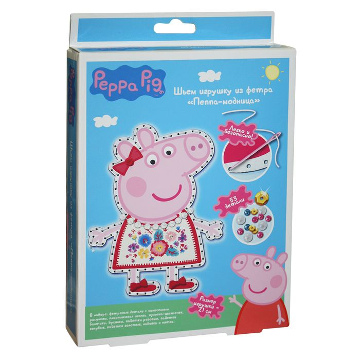 Творч Фетр Шьем игрушку Peppa Pig. Пеппа-модница