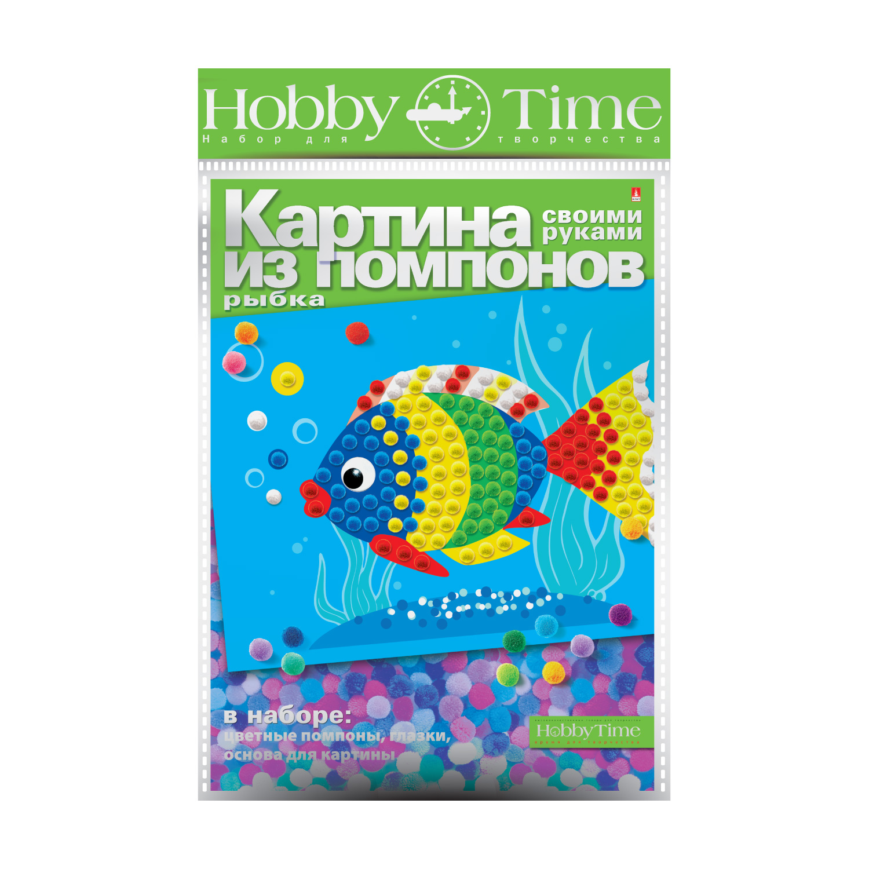 Картина из помпонов Рыбка