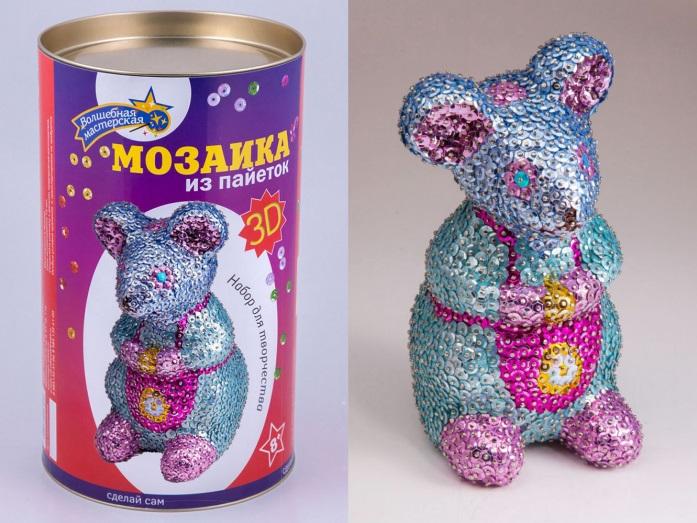 Творч Мозаика из пайеток 3D Мышка