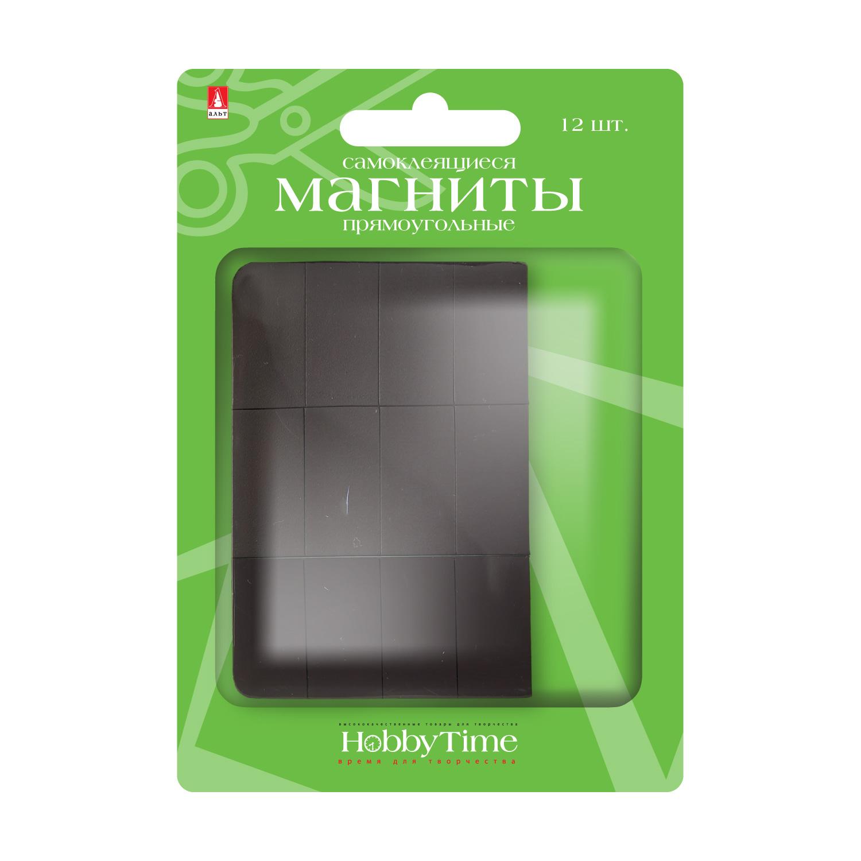 Магнитные пластины 12шт прямоугольные с клеевым слоем 12.7 х 25,4мм