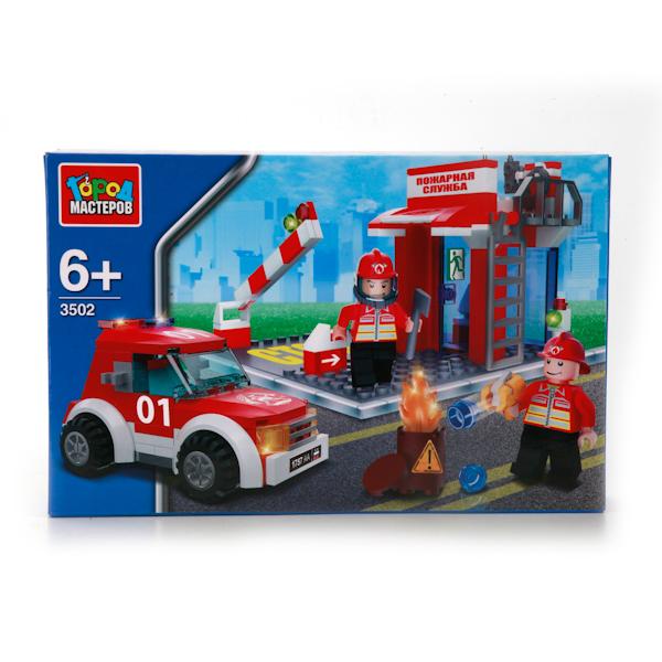 Конструктор Пожарная станция с фигурками 124 дет. пластм