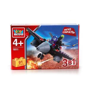 Конструктор Самолет 3-в-1 91 дет. пластм